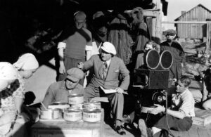 Under inspelningen av Bränningar (1935).